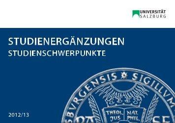 Broschüre Studienergänzungen / Studienschwerpunkte - Universität ...