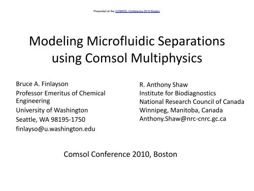 Modeling Microfluidic Separations using Comsol     - COMSOL com