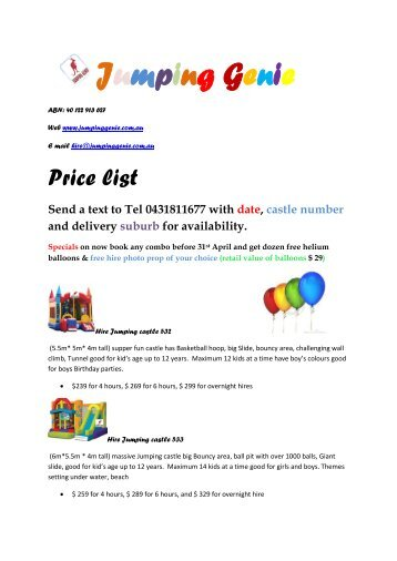 Jumping Genie - Jumping Castle hire Melbourne