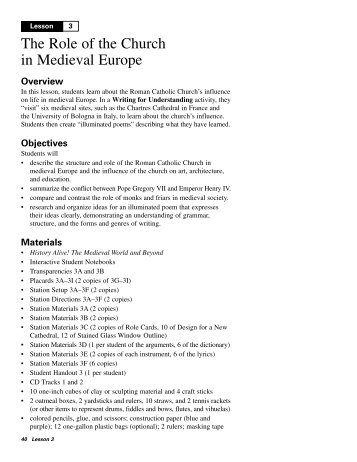 Lesson 3 The Role of the Church in Medieval Europe