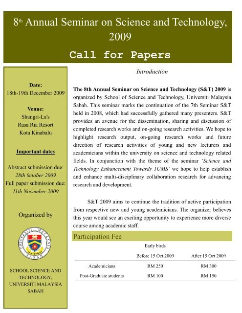 8th Annual Seminar on Science and Technology, 2009 Call for Papers