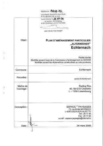 Partie écrite PAP Lot Alferweiher - Echternach