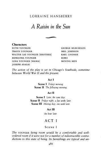 Act 1 raisin in the sun