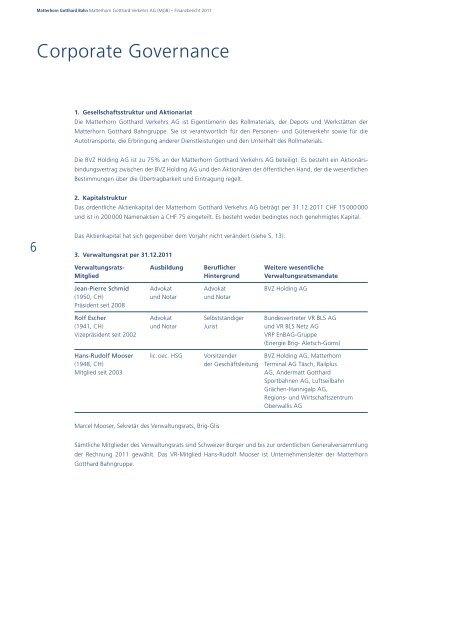 Matterhorn Gotthard Bahn Finanzbericht 2011