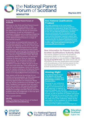 National Parent Forum of Scotland Newsletter - May/June 2012 issue
