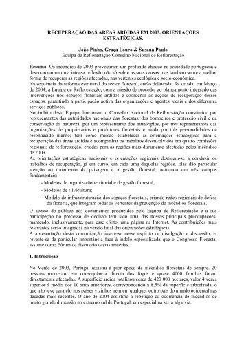 Recuperação das Áreas Ardidas em 2003. Orientações ... - ESAC