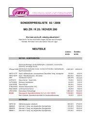 SONDERPREISLISTE 02 / 2008 MG ZR / R 25 / ROVER 200 - AMT