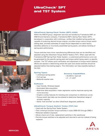 UltraCheck® SPT and TST System - AREVA