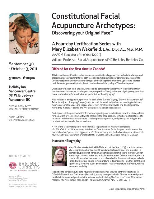 Constitutional Facial Acupuncture Archetypes: - Eastern Currents