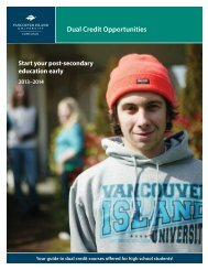 Dual Credit Opportunities - Vancouver Island University