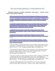 2011 metų mokslinės publikacijos / Scientific publications 2011