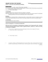 INQUIRY PHYSICS TEST REVIEW Name Units 1-4: One and Two ...
