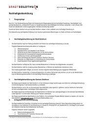 Nachhaltigkeitserklärung - Lokalen Agenda 21 Kanton Solothurn
