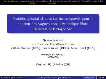Modèles géostatistiques spatio-temporels pour la hauteur des ...