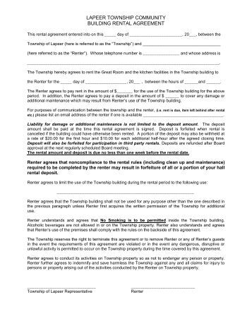 Of 4 sailboat rental agreement carlyle sailing association for Banquet hall contract template