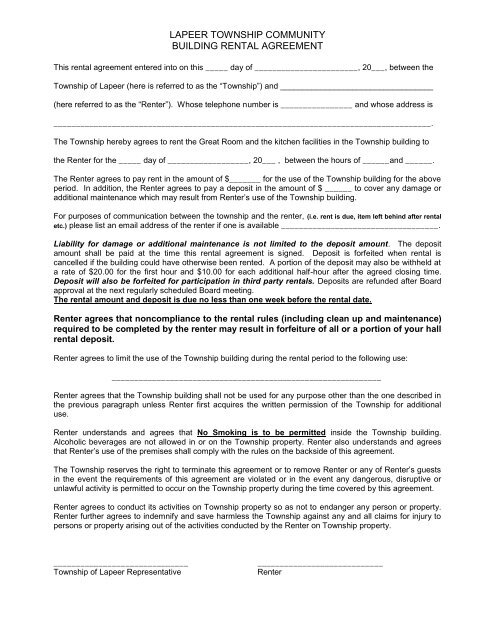 Hall Rental Agreement Form Lapeer Township