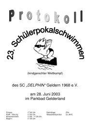 "des SC ""DELPHIN"" Geldern 1968 e.V. am 28. Juni 2003 im Parkbad ..."