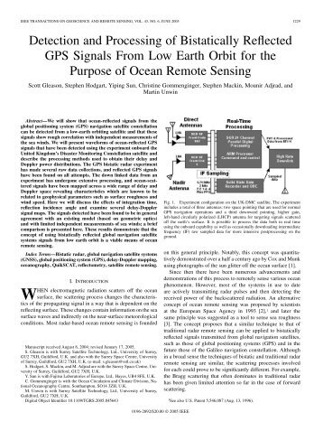 Detection and Processing of Bistatically Reflected ... - AOSS Research