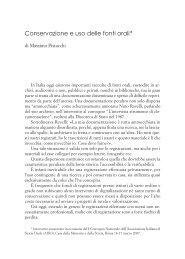 Conservazione ed uso delle fonti orali - Centro Studi Ettore Luccini