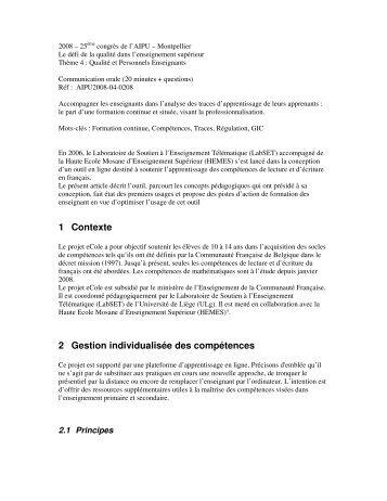 1 Contexte 2 Gestion individualisée des compétences - Labset