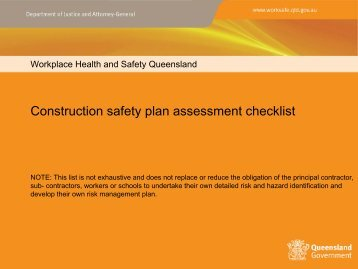 Construction safety plan assessment checklist - Queensland ...
