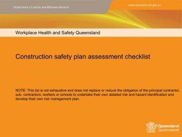 Construction safety plan assessment checklist - Queensland ...