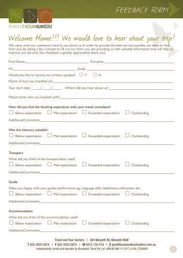 Please download our Feedback Form here - Travel & Tour Hunters