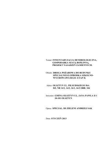 Temat: INWENTARYZACJA DENDROLOGICZNA ... - Olsztyn