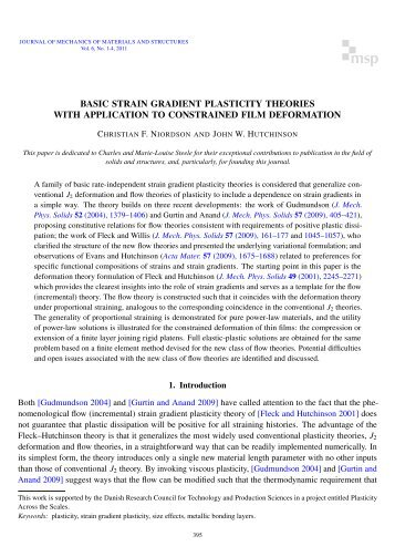 Basic strain gradient plasticity theories with application to ...