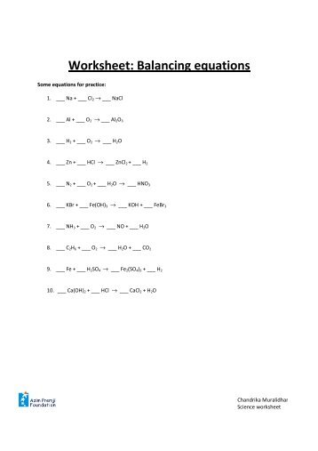 Balancing Chemical Equations Ii Worksheet In Addition Worksheet Motion ...