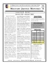 MILITARY JUSTICE MONTHLY - Davis-Monthan Air Force Base
