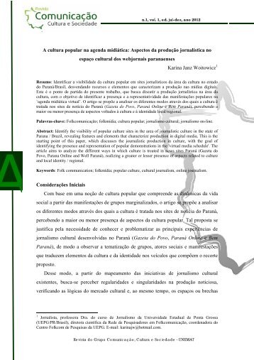 Revista Comunicao, Cultura e Sociedade - Unemat
