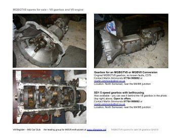 MGBGTV8 spares for sale V8 gearbox 020210.pdf - V8 Register