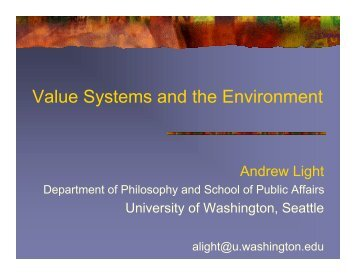 Value systems and the environment - Aspen Global Change Institute