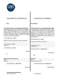 ENGAGEMENT DE CONFIDENTIALITE - CNRS Alsace