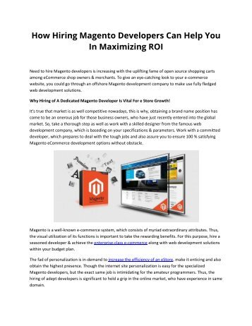 How Hiring Magento Developers Can Help You In Maximizing ROI