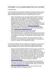 nyhetsbrev/newsletter till alla lärare - Institutionen för ...