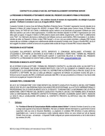 contratto di licenza d'uso del software blackberry enterprise server la ...