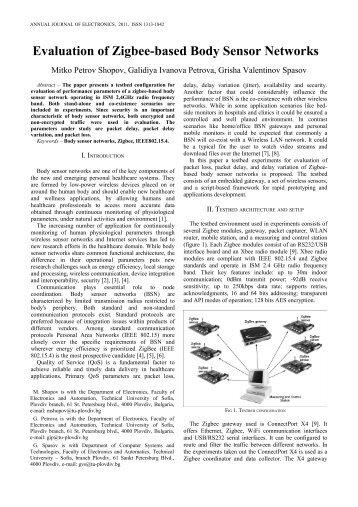 Evaluation of Zigbee-based Body Sensor Networks - Distributed ...