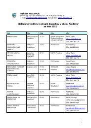 Koledar prireditev in drugih dogodkov v občini Preddvor za leto 2011