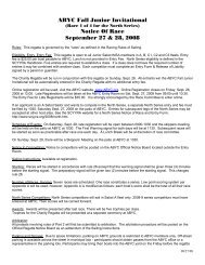 ABYC Fall Junior Invitational Notice Of Race September 27 & 28, 2008