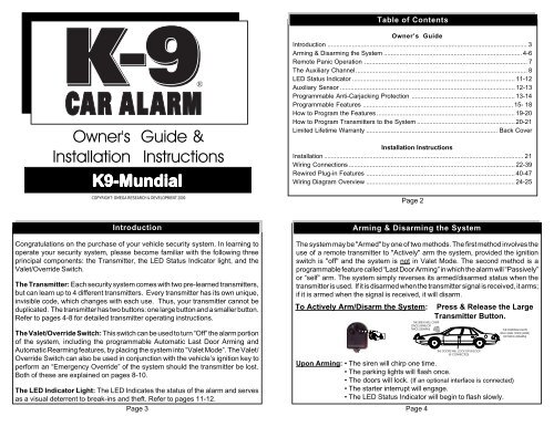 Owner's Guide & Installation Instructions K9-Mundial - Car AlarmsYumpu