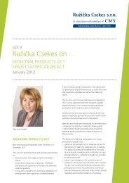 New pharmaceutical laws a drug classification act - CMS Ružička ...