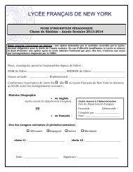 Fiche Pédagogique 6eme - Lycée Français de New York