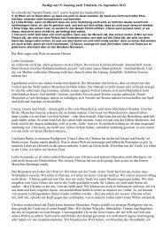Predigt 15. Sonntag nach Trinitatis, 16. September 2012