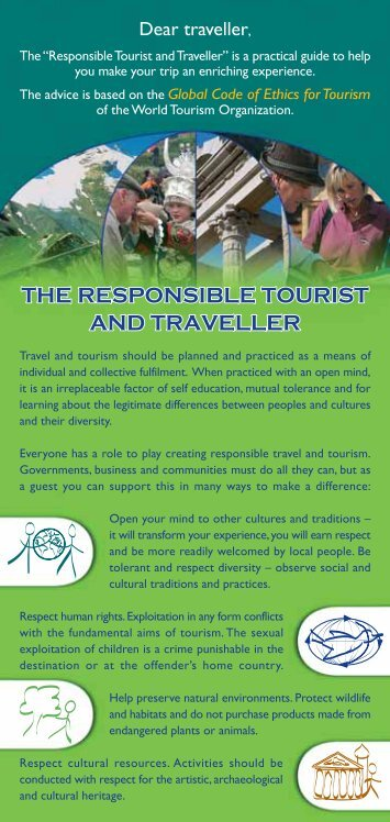the responsible tourist and traveller - Ethics and Social Dimensions ...
