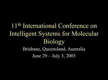 11th International Conference on Intelligent Systems for Molecular ...