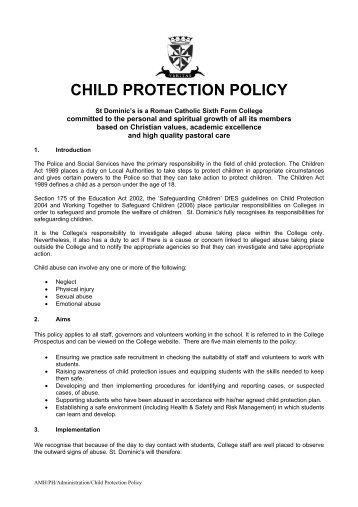 CHILD PROTECTION POLICY - St Dominics | Sixth Form College