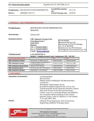 EG-Sicherheitsdatenblatt Produktname ... - Buttschardt Electronic AG