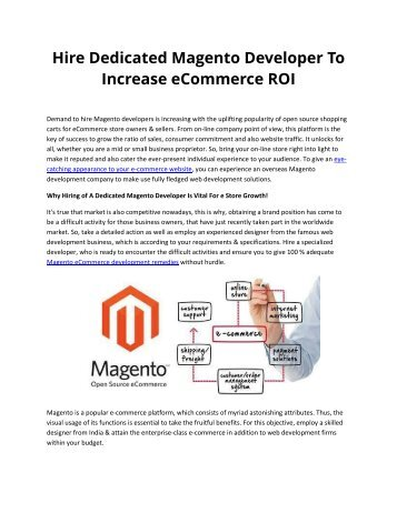 Hire Dedicated Magento Developer To Increase eCommerce ROI